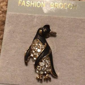 Penguin Rhinestone Fashion Brooch